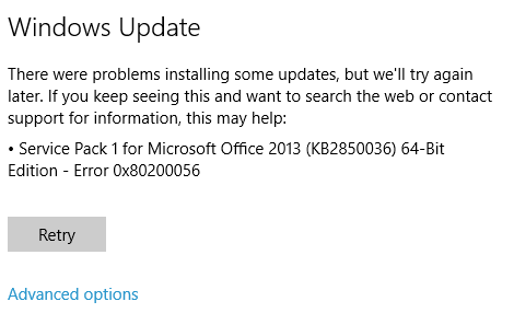 office 2013 sp1 error