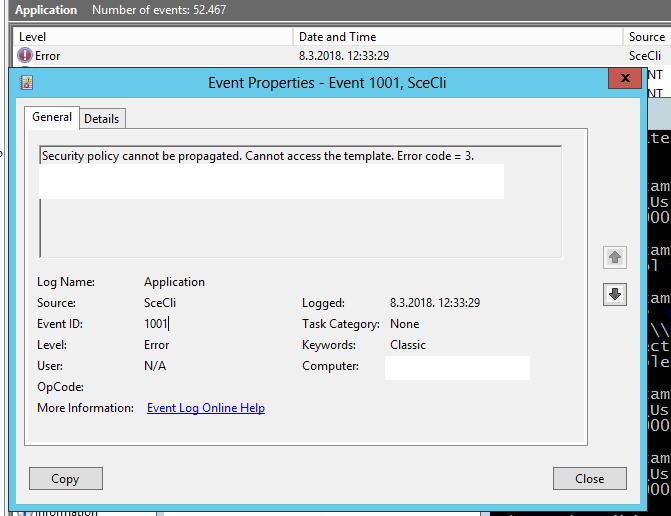 Cannot access template  Error code = 3 - WinCert
