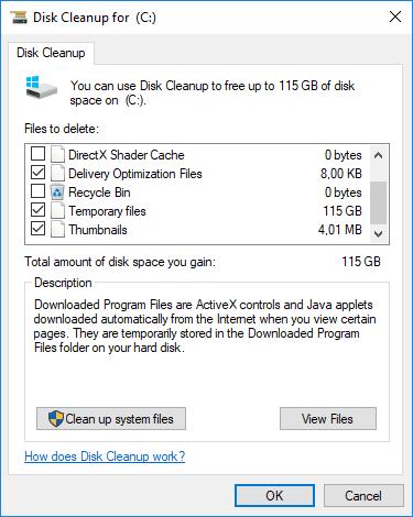 Windows 10Disk Cleanup