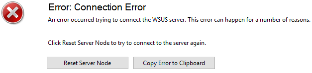 WSUS Error: Connection Error
