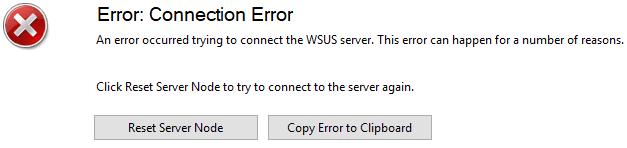 WSUS Error: Connection Error