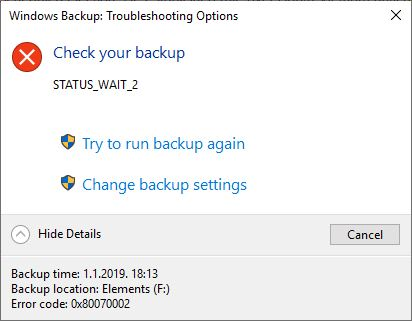 Windows Backup Failed Status_Code_Wait - WinCert