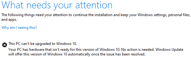 This PC can't be upgraded to Windows 10