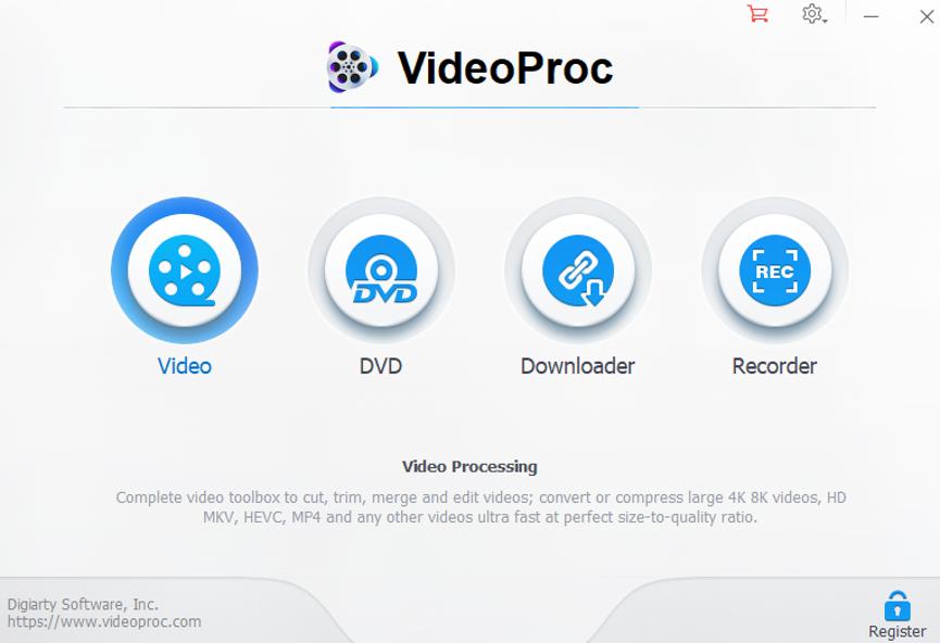 VideoProc main UI