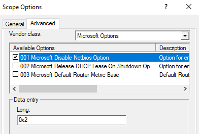 How to disable NetBIOS for DHCP clients