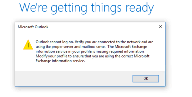Outlook cannot log on. Verify you are connected to the network.