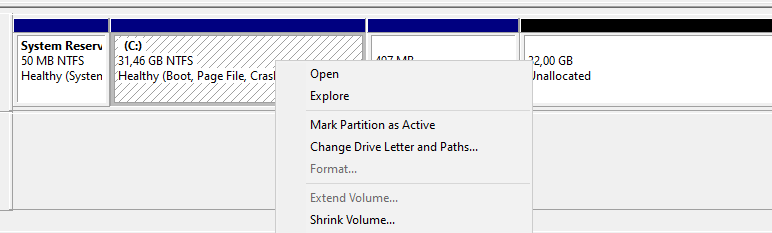 Extend volume grayed out on Windows 10