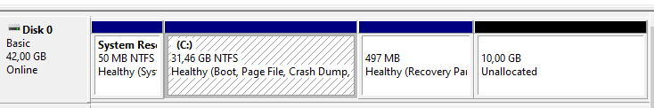 Cannot extend the System Drive