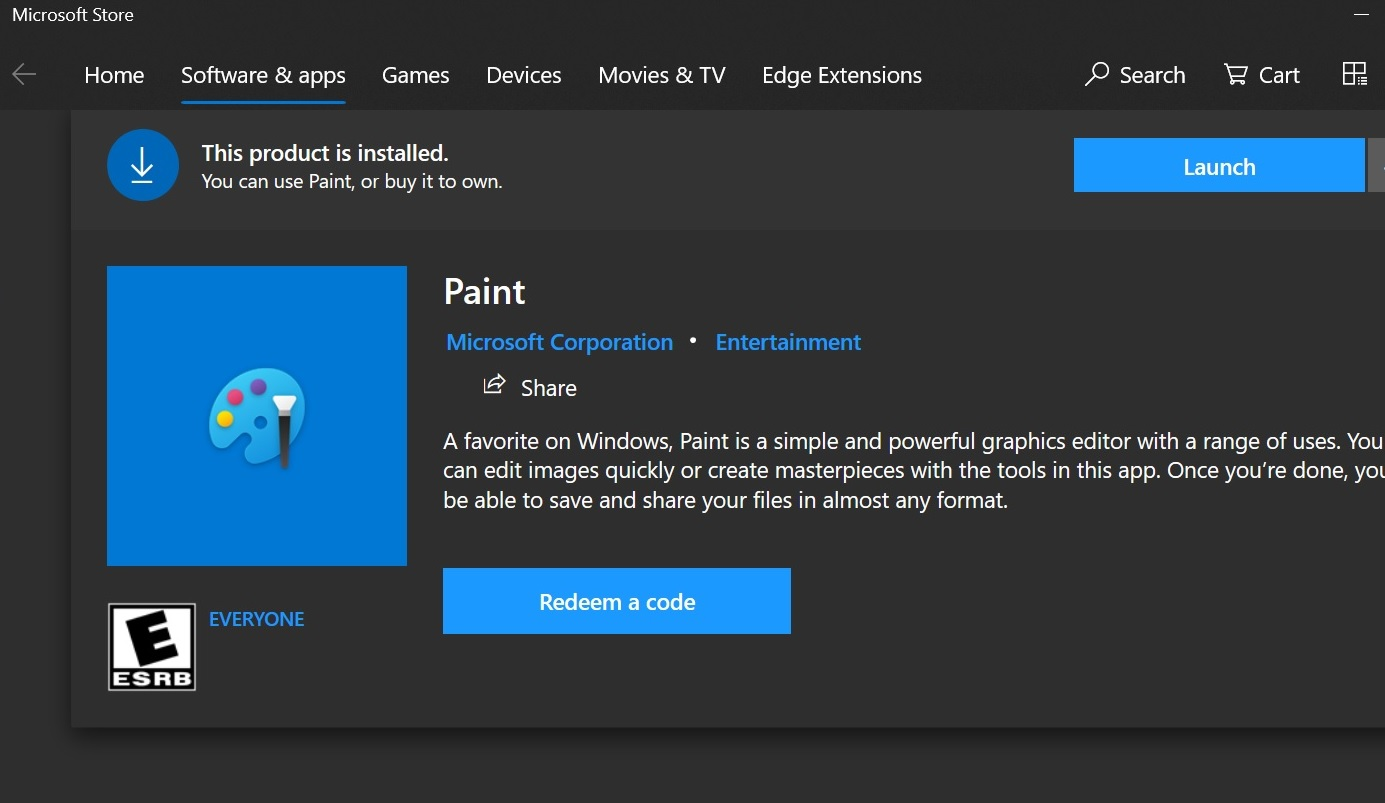 Microsoft Paint finally appears in Microsoft store