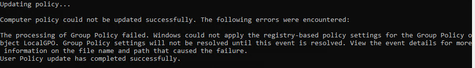 The processing of Group Policy Failed. Event 1096.